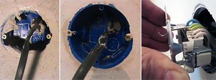 Монтаж «стакана» и заведение провода