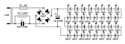 Простейшая электросхема светодиодной лампы