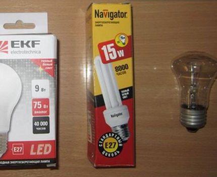 Осветительные лампы разных видов